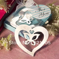 Free shipping (20pcs)  Stainless Steel Butterfly in Heart Bookmark  for Wedding Gifts and Wedding Favors Wholesale and retail