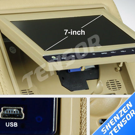 7 inch car Headrest DVD Player with touch Screen +digital panel +Zipper+IR+FM+32bit game+USB+SD for one pcs(China (Mainland))