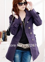 Fashionable Women's Free Shipping Stand Collar Single Breasted Buckle Decorated Long Trench Coat Purple(With Belt) YL10092810-2