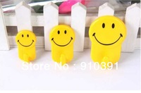 Free ship/EMS, plastic smile face super sticky hook functional towel crook set bathroom accessory as Creative homeware product.