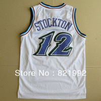 Hottest Sale John Stockton Men's Utah Highest Grade Mesh Home White Basketball Jerseys,Embroidery logos,Accept Mixed Order