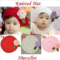 2015 New Baby Girls Toddler Flower Cute Princess Brimless Hats Caps Skullies Beanies Knitted White Red Pink 10pcs/lot Wholesale