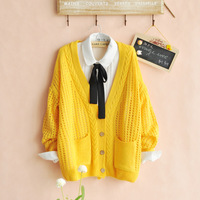 Free shipping Spring 2014 new long-sleeved openwork crochet cardigan sweater women sweater pocket