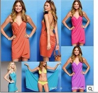 Solid deep V-neck sun crossing beach dress clothes one piece skirt Bikini Wrap Dress cotton dress sarong cover-ups 13F029
