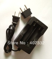 High quality 2LED Travel Charger For Lithium Li-Ion 18650 Battery  US with EU adapter ,Free Shipping