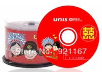 Free shipping,Blank disc  UNIS  Wedding DVD+R Recordable  DVD-16X ,1case of 50CDs ,high quality record disk 4.7G