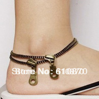 Europe Trendy Fashion Jewelry Vintage zipper anklet necklace for women or ladies Free shipping
