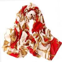 Women's scarf summer sunscreen cape chains chain carriage scarf air conditioning silk scarf
