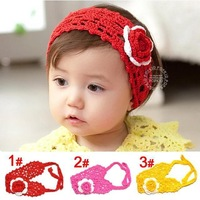 2015 New Baby Girls Toddler Flowers Cute Princess Lovely Hairband Headband Knitted Headwear Red Hot Pink Yellow