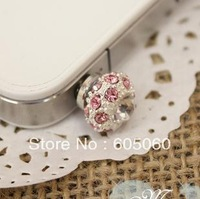Free shipping,For iphone 4 4s bird nest dust plug i9300 mobile phone dust plug bird nest rhinestone bling colorful