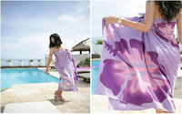 Sexy Women's Beach Cover Up Lady's Wrap Swimwear Sheer Sarong Purple Scarf Pareo Flower Factory Price High Quality