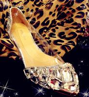 Fashion women  Limited edition  crystal flat stereo gem rhinestone ladyhandmade  jelly shoes