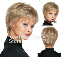 Women Nice short Natural Straight wig Stylish lady Blonde synthetic hair wigs  Free Shipping