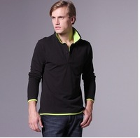 European Style 2013 New Men's Contrast Color PIQUE Shirt Fashion Short Sleeve Top Plus Size Vest M-XXL MS3005