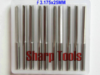 3.175*25mm- double straight flute slot cutter, 10pcs wholesale cnc wood milling cutting tools, on woodworking machine, FREE Ship