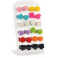 Wholesale Mixed Lots Colorful 12 Pairs Resin Rose Flower Stud Earrings 61713