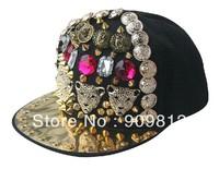 Free Shipping 2013 New Style, Punk rivet four leopard head flat brimmed hat, Rivets hip-hop cap, Snapback caps
