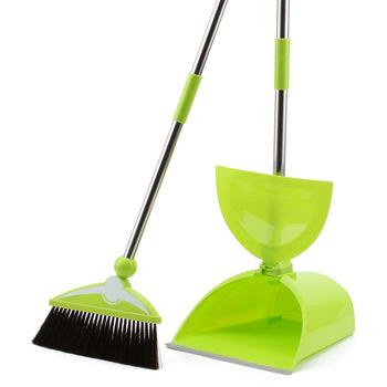 home Stainless steel anti-slip grip besmirchers dustpan set broom the disassemblability