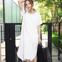 Fashion Solid Color Elastic Casual 0-neck Loose One-Piece Dress Short-Sleeve Free shipping by CPAM