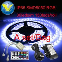 Free Shipping Led Strip 5m12V 5A Power 44keys IR Controller 5050 30leds/m Led Christmas Lights Outdoor Free Shipping 5Meter/set