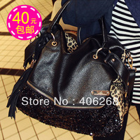 free shipping  casual all-match leopard print paillette bag women's handbag shoulder bag