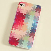Free shipping!elegant Special Design Multicolour colored drawing puzzle for iphone 4 4s 4 5g 5 for apple phone protective case