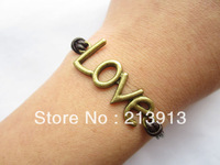 FREE SHIPPING  Wholesale  Lover Bracelet---antique bronze love letters & alloy chain