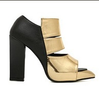 new European and American new arrive , pointed  toewomen's shoes , metal PU high-heeled shoes thick with sandals mixed colors