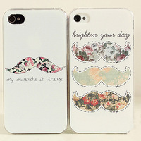 Free shipping!lovely elegant cute New Hot LEON Chaplin Sexy Beard Mustache flower Hard Back Case Cover For Apple iPhone 5 4g 4s