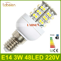 Wholesale -2013 NEW 220V 3W 48 LED 192LM  E14 3528 SMD LED Corn Light Bulb Warm White bright Lamp CE&ROHS Free shipping FedEx