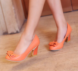 2013 fashion round toe high-heeled shoes bow metal shoes decoration free shipping(China (Mainland))