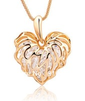 Free Shipping Hollow Alloy heart Necklace with crystal butterfly