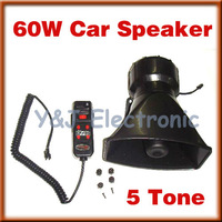 wholesale drop shipping 5PCS/lot 12V Universal car 5 Tone Police Siren cheap 60W Car Speaker system+ Microphone