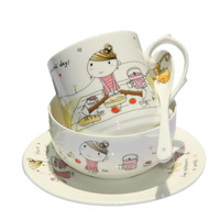 High quality cartoon bone china tableware 4 dinnerware set