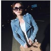 Free Shipping Fashion Coat For Women Washed Denim Motorcycle Models Zipper Jacket  XX23049384944