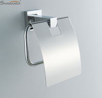 Free Shipping Paper Holder/Roll Holder/Tissue Holder with cover,Solid Brass Construction ,Chrome Finish-wholesale-94017