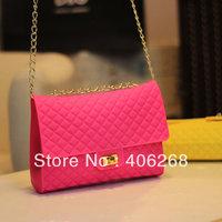 free shipping  fashion shine silica gel solid plaid jelly small chain evening bag ladies' shoulder bag sling bag