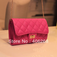 free shipping  2013 elegent  solid plaid best quality pu leather chain ladies' bag evening bag shoulder bag