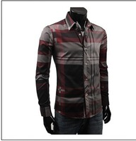 The New England Mens Shirt trend of self-cultivation Plaid long-sleeved shirt cotton, 2 color, free shipping