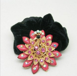 Min.order is $15 (Mix order flannelette ring hair headdress flower cloth rope line South Korean retro and luxurious hair