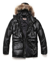 Avirex sheepskin down coat with a hood wool thickening medium-long genuine leather Men down coat jppy