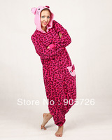 Free shipping 2013 Hot Selling Animal Onesies Kigurumi Jumpsuit Pajamas Fushia Leopard Hoodies Costume Sleepwear