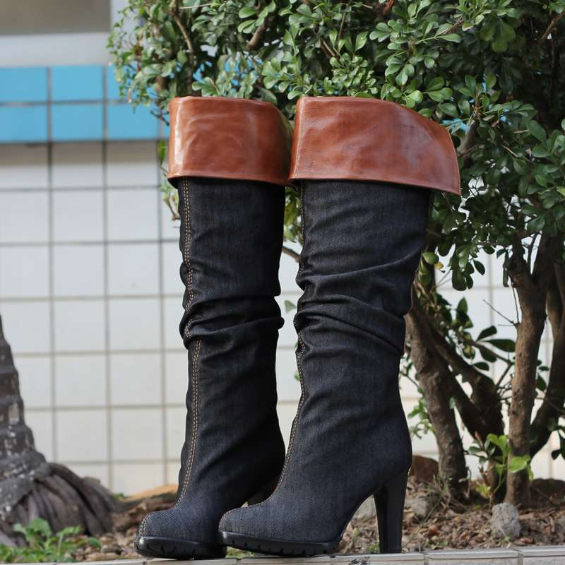 Unique ruffle platform ultra high heels patchwork denim boots over-the-knee high-leg boots 10515 - 1 fx(China (Mainland))