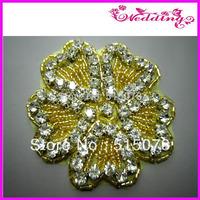 Fashion iron on  Gold rhinestone applique flower patch for wedding dress