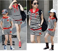 Free Shipping 2014 Family fashion summer clothes set  mother and child summer set family set clothes for mother and daughter