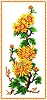 free shipping,unfinished cross stitch sets, Printed cloth,Flowers Series,Chrysanthemum