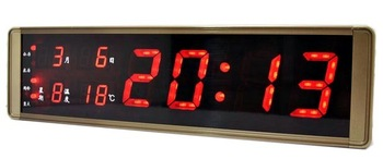 Wood large led electronic primary colors timekeeping led alarm clock mute wall clock metal clock alarum