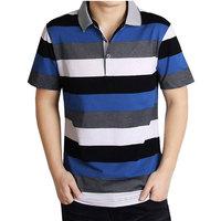 2013 men's summer clothing male business casual t-shirt turn-down collar stripe short-sleeve T-shirt