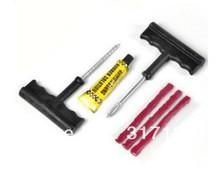 Free shipping (10 set /lot ) Wholesale Car Bike Auto TUBELESS TIRE REPAIR KIT 6PCS Tyre Puncture Plug Repair Cement Tool Kit(China (Mainland))