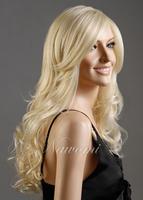 D027 free shipping Synthetic fiber 100% Kanekalon high quality women hair wig,New Stylish long Wavy Curly Blonde Hair Lady Wig